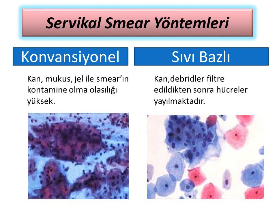Kan, mukus, jel ile smear'ın kontamine olma olasılığı yüksek. Kan,debridler filtre edildikten sonra hücreler yayılmaktadır. Servikal Smear Yöntemleri