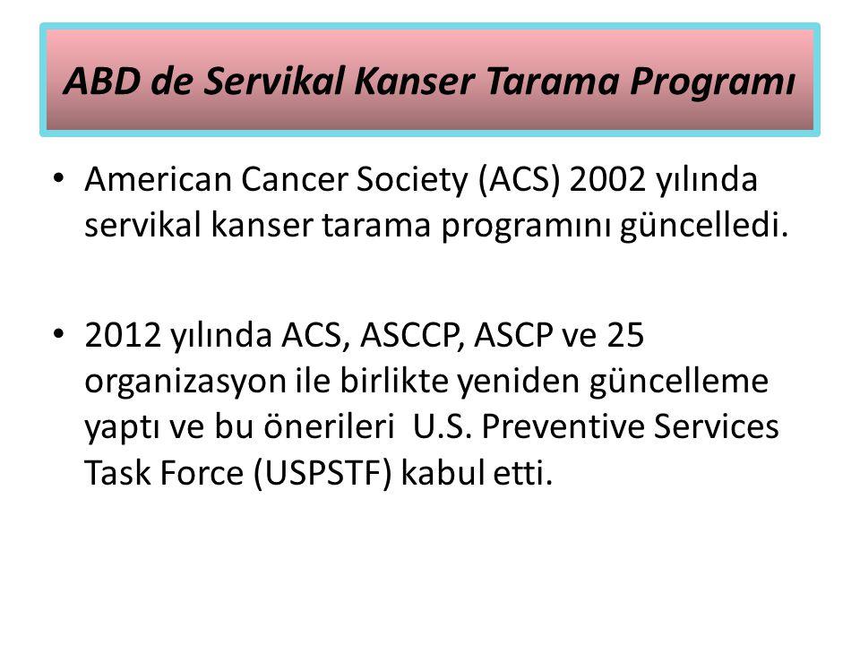 ABD de Servikal Kanser Tarama Programı American Cancer Society (ACS) 2002 yılında servikal kanser tarama programını güncelledi. 2012 yılında ACS, ASCC