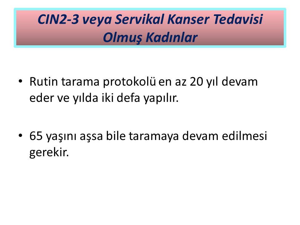 CIN2-3 veya Servikal Kanser Tedavisi Olmuş Kadınlar Rutin tarama protokolü en az 20 yıl devam eder ve yılda iki defa yapılır. 65 yaşını aşsa bile tara