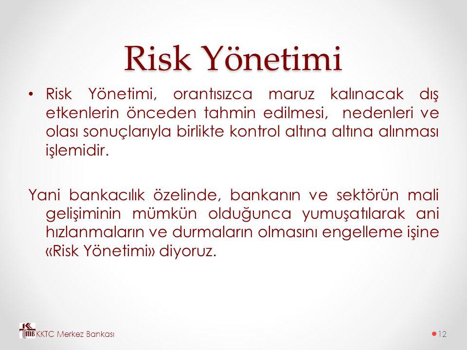 Risk Yönetimi Risk Yönetimi, orantısızca maruz kalınacak dış etkenlerin önceden tahmin edilmesi, nedenleri ve olası sonuçlarıyla birlikte kontrol altı