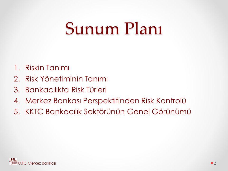 Sunum Planı 1.Riskin Tanımı 2.Risk Yönetiminin Tanımı 3.Bankacılıkta Risk Türleri 4.Merkez Bankası Perspektifinden Risk Kontrolü 5.KKTC Bankacılık Sek