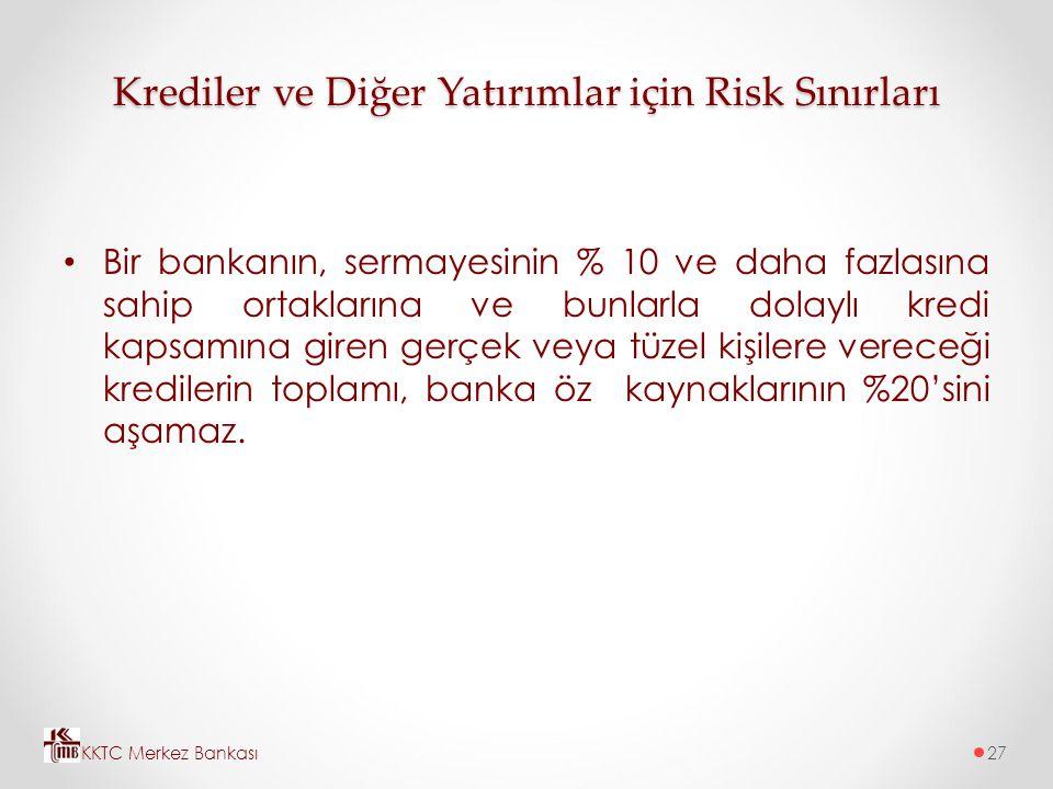 Krediler ve Diğer Yatırımlar için Risk Sınırları Bir bankanın, sermayesinin % 10 ve daha fazlasına sahip ortaklarına ve bunlarla dolaylı kredi kapsamı