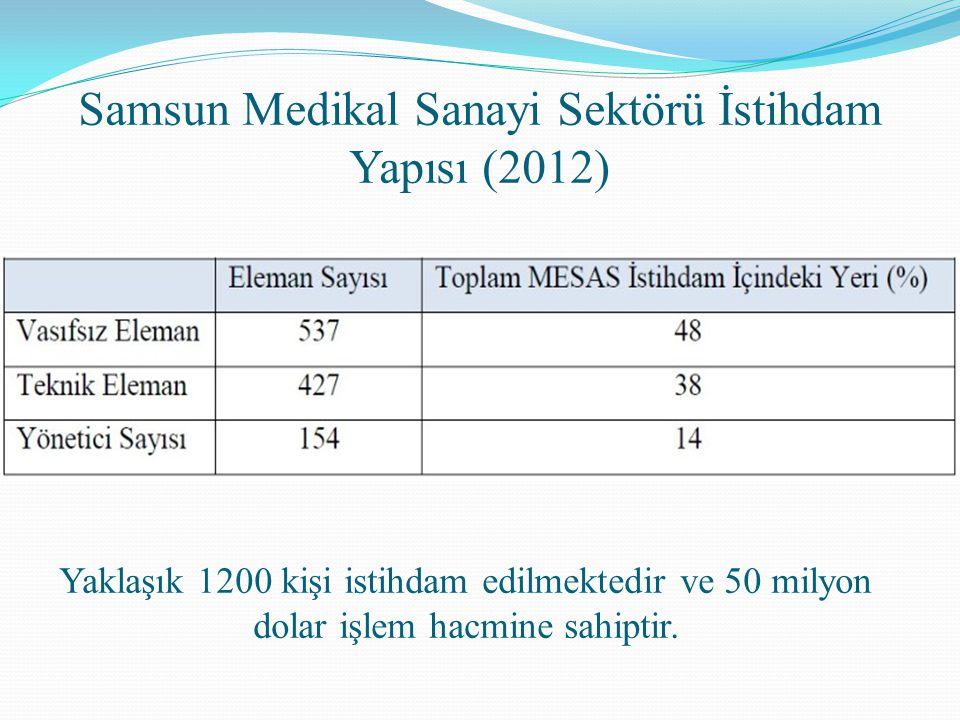 Samsun Medikal Sanayi Sektörü İstihdam Yapısı (2012) Yaklaşık 1200 kişi istihdam edilmektedir ve 50 milyon dolar işlem hacmine sahiptir.