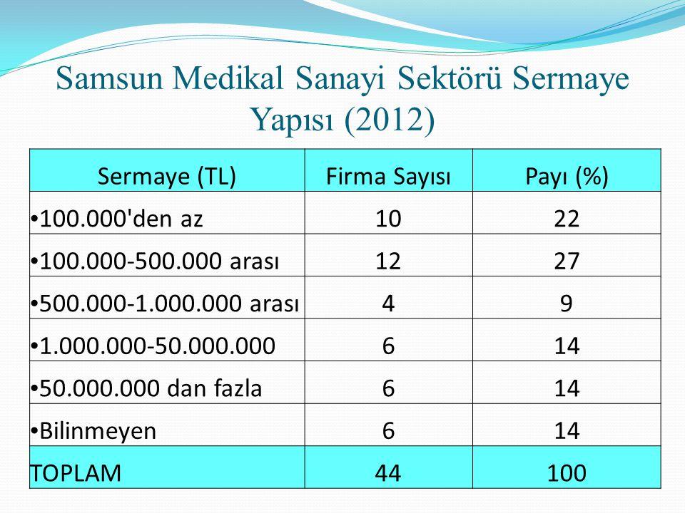 Sermaye (TL)Firma SayısıPayı (%) 100.000'den az1022 100.000-500.000 arası1227 500.000-1.000.000 arası49 1.000.000-50.000.000614 50.000.000 dan fazla61