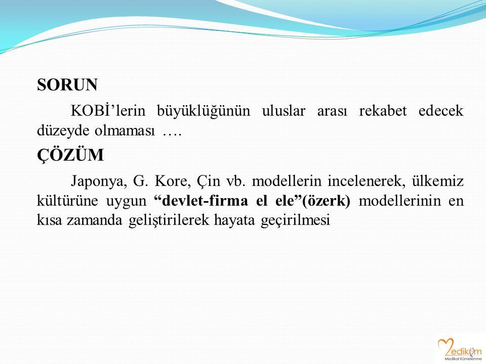 SORUN KOBİ'lerin büyüklüğünün uluslar arası rekabet edecek düzeyde olmaması …. ÇÖZÜM Japonya, G. Kore, Çin vb. modellerin incelenerek, ülkemiz kültürü