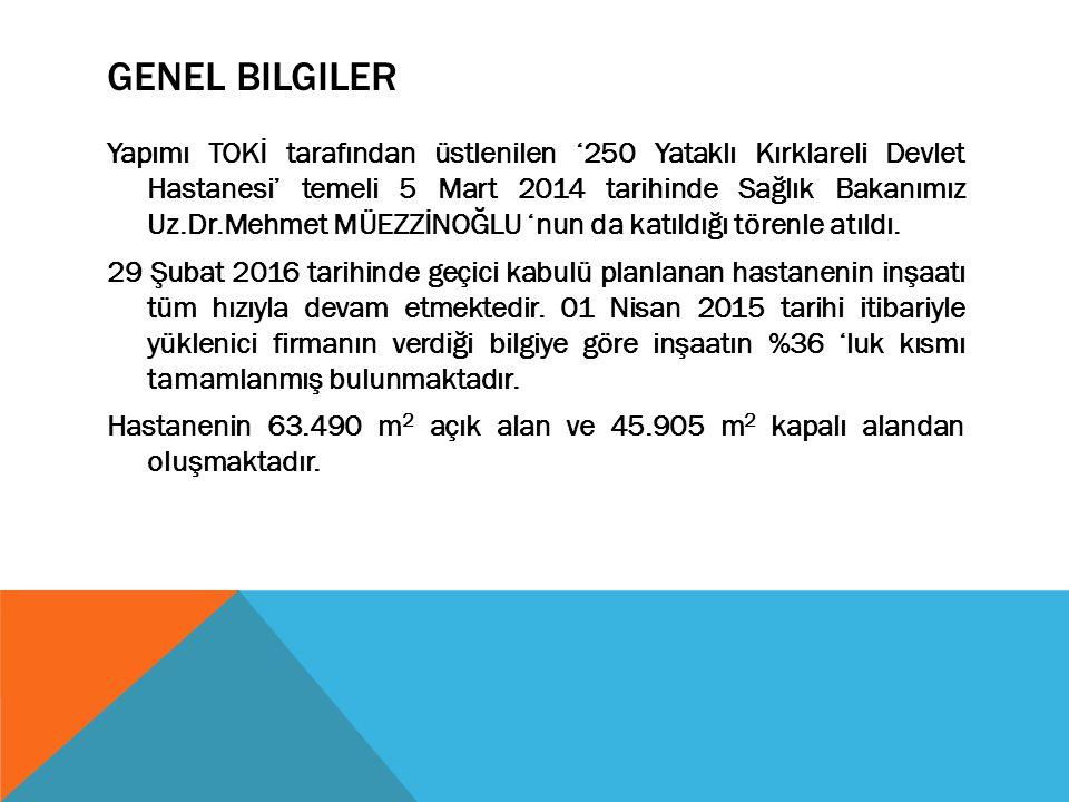 GENEL BILGILER Yapımı TOKİ tarafından üstlenilen '250 Yataklı Kırklareli Devlet Hastanesi' temeli 5 Mart 2014 tarihinde Sağlık Bakanımız Uz.Dr.Mehmet