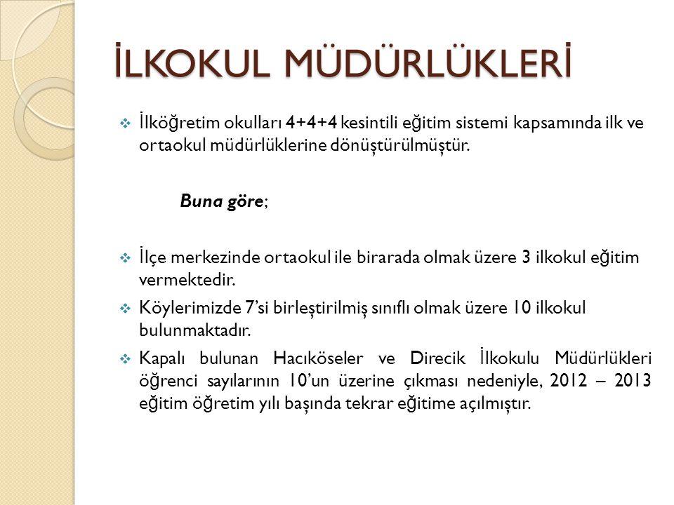 İ LKOKUL MÜDÜRLÜKLER İ  İ lkö ğ retim okulları 4+4+4 kesintili e ğ itim sistemi kapsamında ilk ve ortaokul müdürlüklerine dönüştürülmüştür.