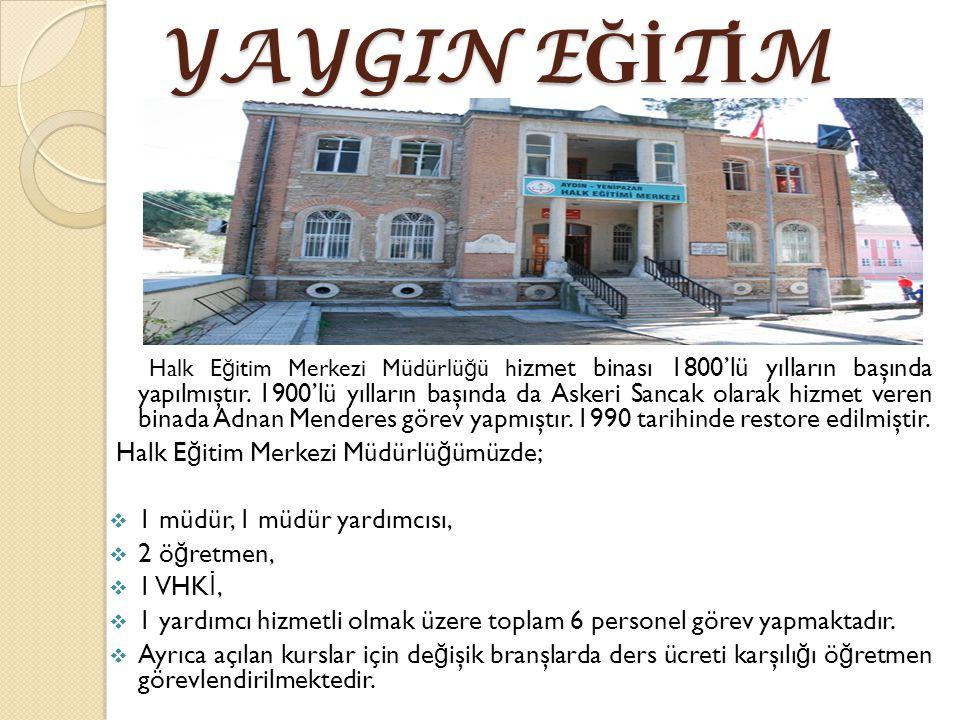 YAYGIN E Ğİ T İ M Halk E ğ itim Merkezi Müdürlü ğ ü h izmet binası 1800'lü yılların başında yapılmıştır.