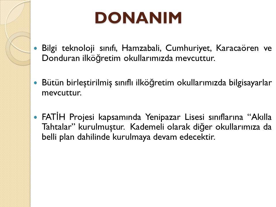 DONANIM Bilgi teknoloji sınıfı, Hamzabali, Cumhuriyet, Karacaören ve Donduran ilkö ğ retim okullarımızda mevcuttur.