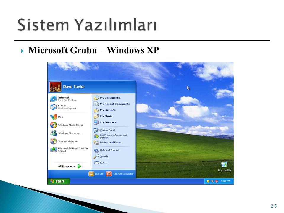  Microsoft Grubu – Windows XP 25