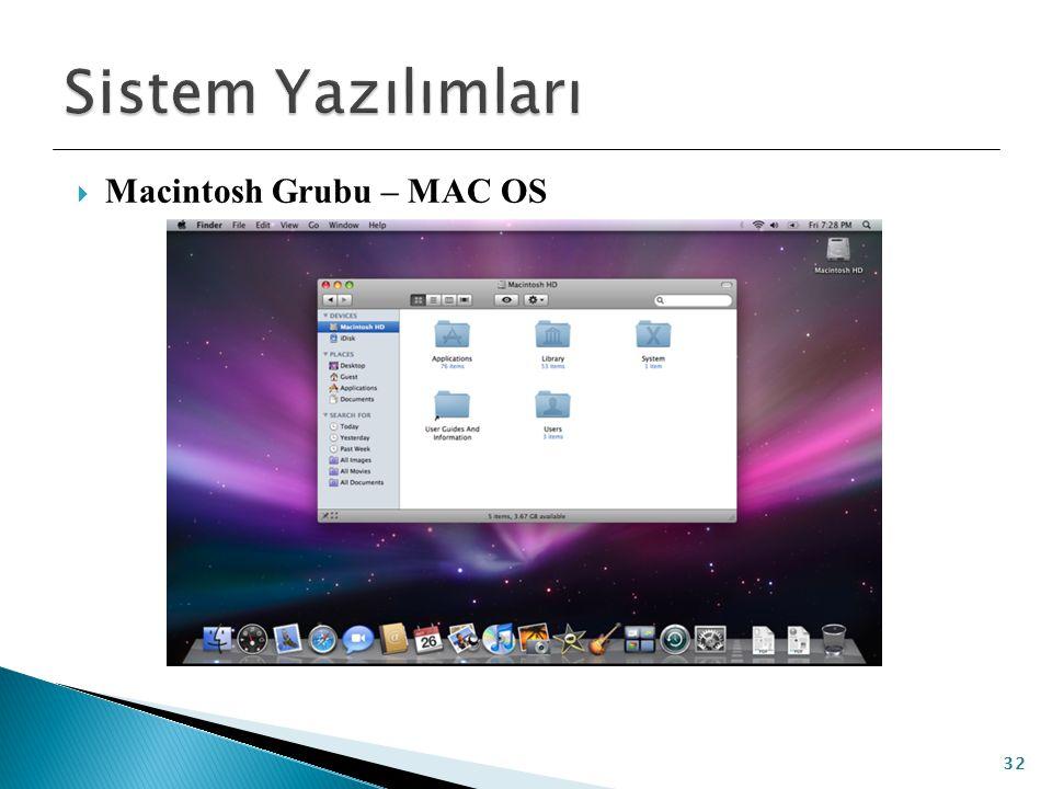  Macintosh Grubu – MAC OS 32