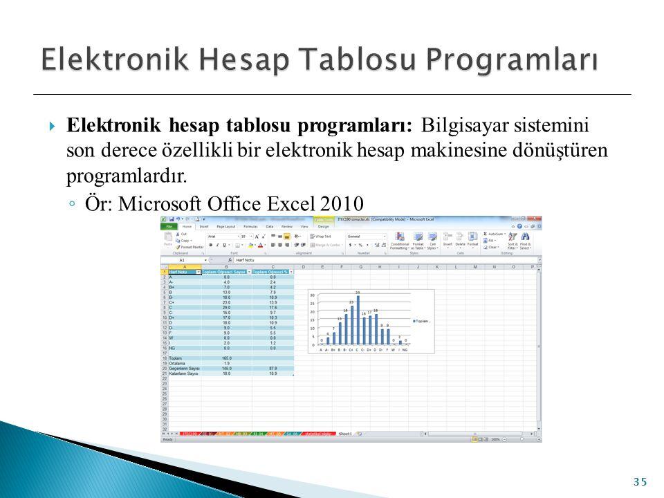 Elektronik hesap tablosu programları: Bilgisayar sistemini son derece özellikli bir elektronik hesap makinesine dönüştüren programlardır. ◦ Ör: Micr