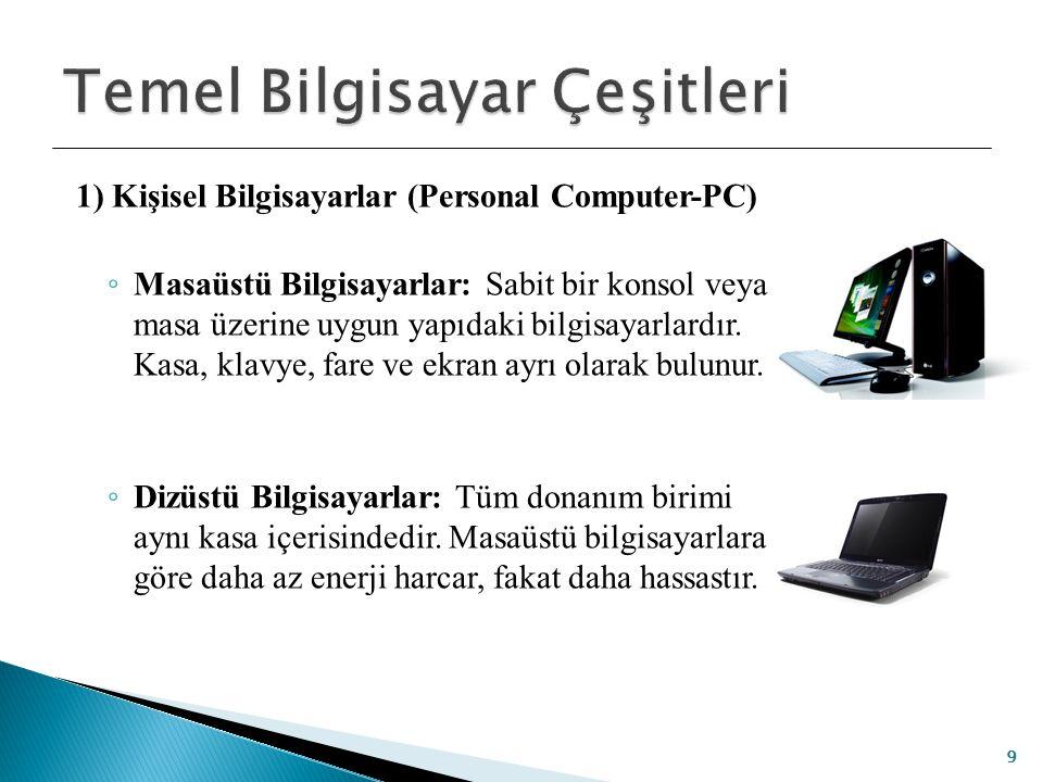 1) Kişisel Bilgisayarlar (Personal Computer-PC) ◦ Masaüstü Bilgisayarlar: Sabit bir konsol veya masa üzerine uygun yapıdaki bilgisayarlardır. Kasa, kl