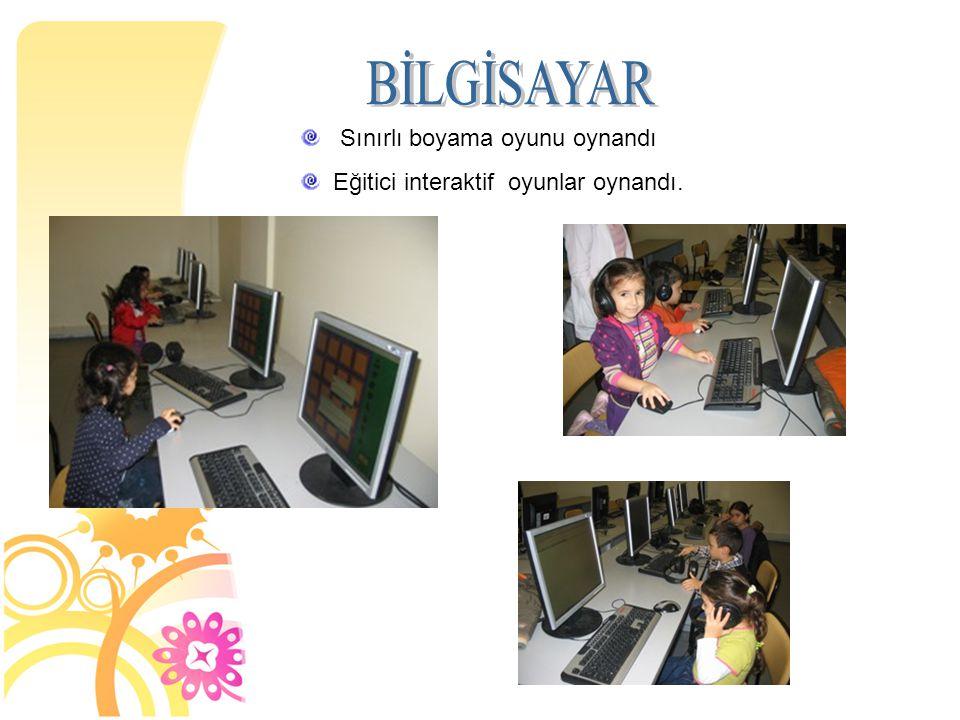 Sınırlı boyama oyunu oynandı Eğitici interaktif oyunlar oynandı.