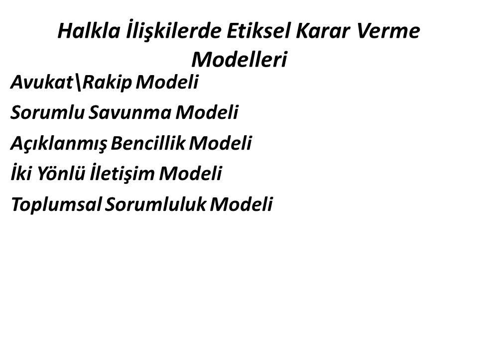Halkla İlişkilerde Etiksel Karar Verme Modelleri Avukat\Rakip Modeli Sorumlu Savunma Modeli Açıklanmış Bencillik Modeli İki Yönlü İletişim Modeli Topl