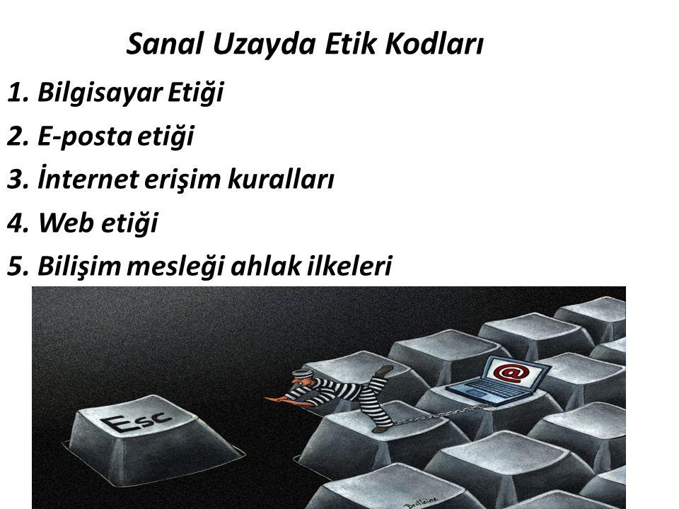 Sanal Uzayda Etik Kodları 1. Bilgisayar Etiği 2. E-posta etiği 3. İnternet erişim kuralları 4. Web etiği 5. Bilişim mesleği ahlak ilkeleri