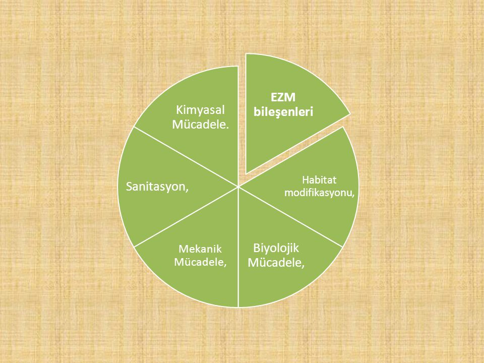 EZM bileşenleri Habitat modifikasyonu, Biyolojik Mücadele, Mekanik Mücadele, Sanitasyon, Kimyasal Mücadele.