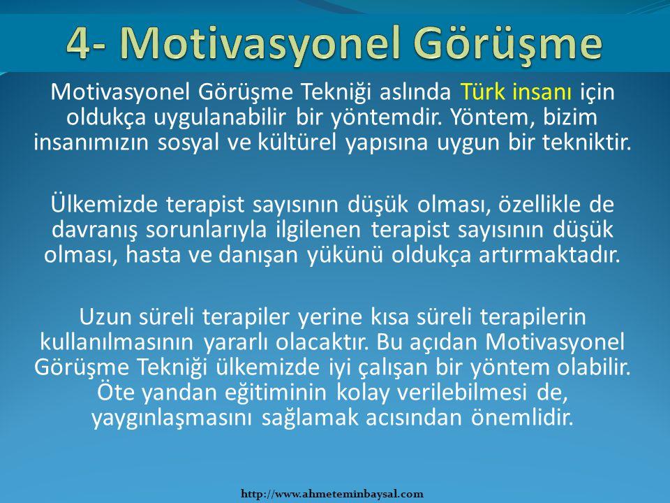 Motivasyonel Görüşme Tekniği aslında Türk insanı için oldukça uygulanabilir bir yöntemdir. Yöntem, bizim insanımızın sosyal ve kültürel yapısına uygun