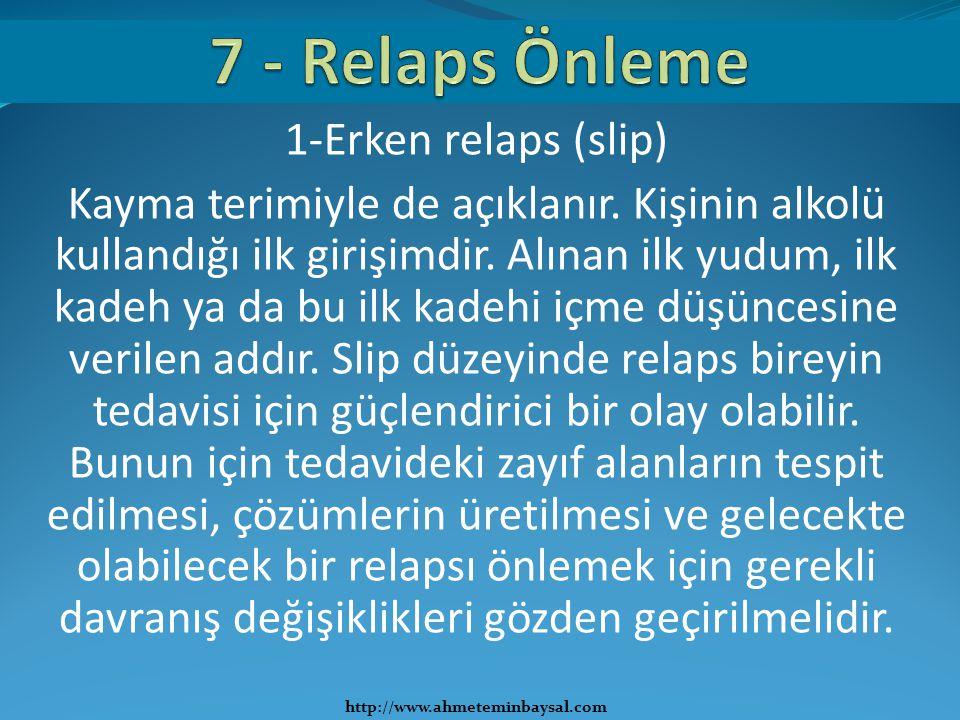 1-Erken relaps (slip) Kayma terimiyle de açıklanır. Kişinin alkolü kullandığı ilk girişimdir. Alınan ilk yudum, ilk kadeh ya da bu ilk kadehi içme düş