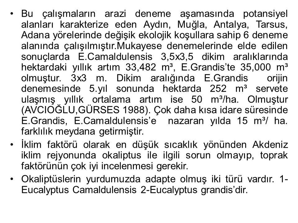 Bu çalışmaların arazi deneme aşamasında potansiyel alanları karakterize eden Aydın, Muğla, Antalya, Tarsus, Adana yörelerinde değişik ekolojik koşulla