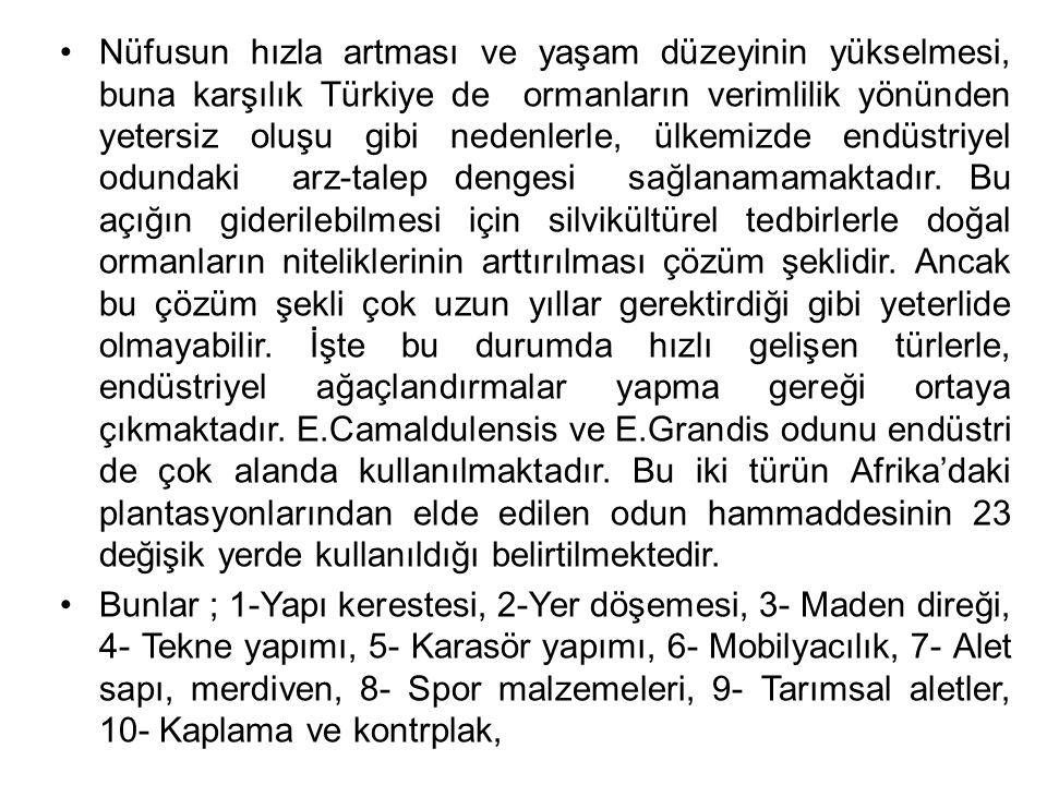 Nüfusun hızla artması ve yaşam düzeyinin yükselmesi, buna karşılık Türkiye de ormanların verimlilik yönünden yetersiz oluşu gibi nedenlerle, ülkemizde