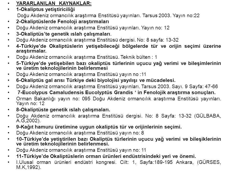 YARARLANILAN KAYNAKLAR: 1-Okaliptus yetiştiriciliği Doğu Akdeniz ormancılık araştırma Enstitüsü yayınları. Tarsus 2003. Yayın no:22 2-Okaliptüslerde F
