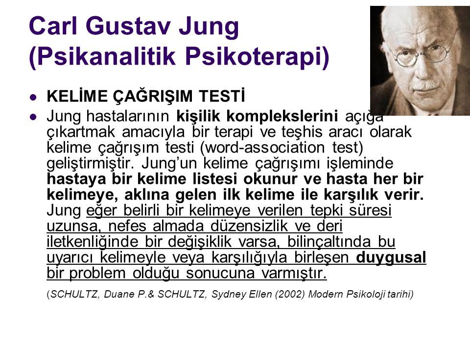 Carl Gustav Jung (Psikanalitik Psikoterapi) KELİME ÇAĞRIŞIM TESTİ Jung hastalarının kişilik komplekslerini açığa çıkartmak amacıyla bir terapi ve teşh