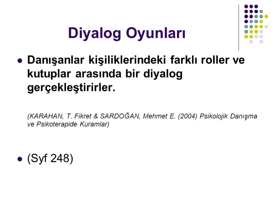 Diyalog Oyunları Danışanlar kişiliklerindeki farklı roller ve kutuplar arasında bir diyalog gerçekleştirirler. (KARAHAN, T. Fikret & SARDOĞAN, Mehmet