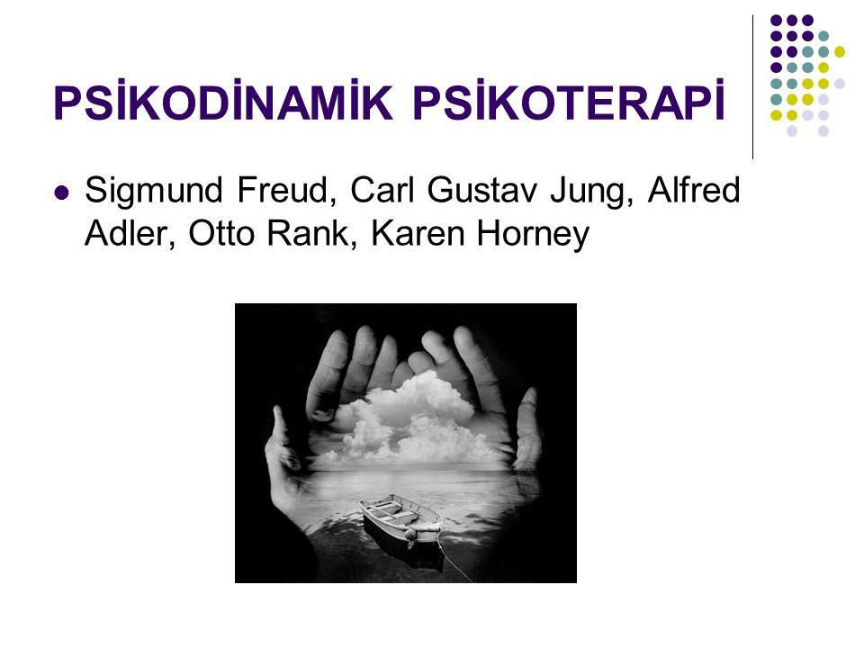 PSİKODİNAMİK PSİKOTERAPİ Sigmund Freud, Carl Gustav Jung, Alfred Adler, Otto Rank, Karen Horney