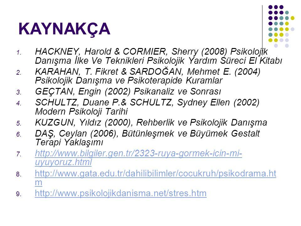 KAYNAKÇA 1. HACKNEY, Harold & CORMIER, Sherry (2008) Psikolojik Danışma İlke Ve Teknikleri Psikolojik Yardım Süreci El Kitabı 2. KARAHAN, T. Fikret &