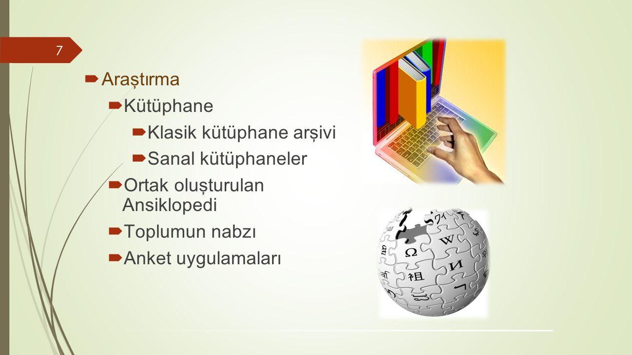 AA raştırma KK ütüphane KK lasik kütüphane arşivi SS anal kütüphaneler OO rtak oluşturulan Ansiklopedi TT oplumun nabzı AA nket uygulamaları 7