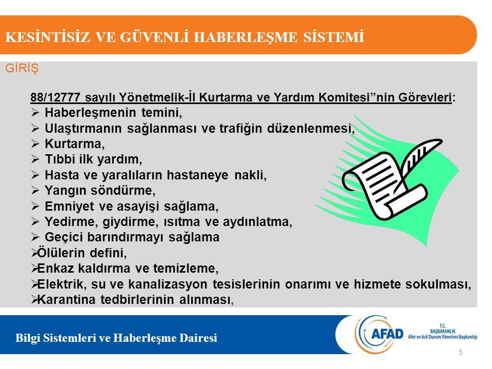 """KESİNTİSİZ VE GÜVENLİ HABERLEŞME SİSTEMİ Bilgi Sistemleri ve Haberleşme Dairesi 88/12777 sayılı Yönetmelik-İl Kurtarma ve Yardım Komitesi""""nin Görevler"""