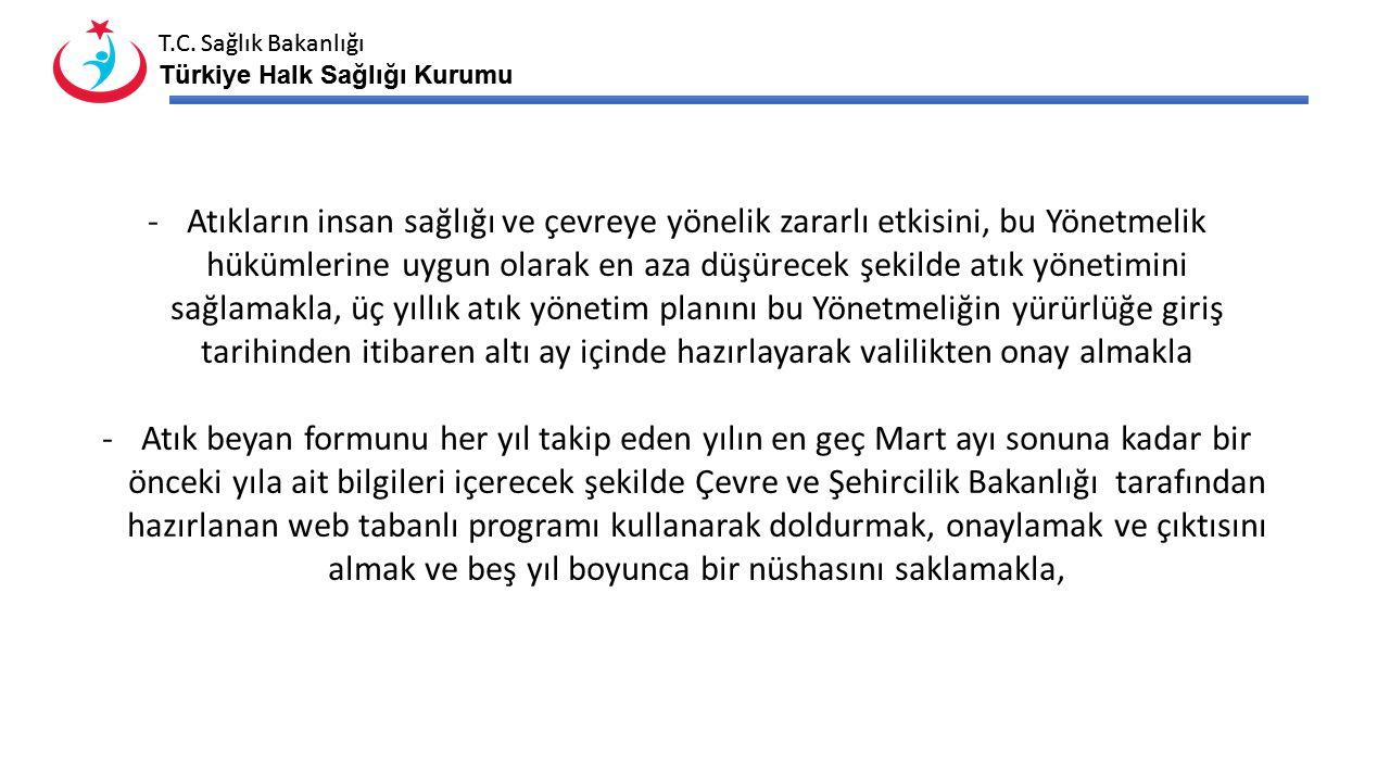 T.C. Sağlık Bakanlığı Türkiye Halk Sağlığı Kurumu T.C. Sağlık Bakanlığı Türkiye Halk Sağlığı Kurumu -Atıkların insan sağlığı ve çevreye yönelik zararl