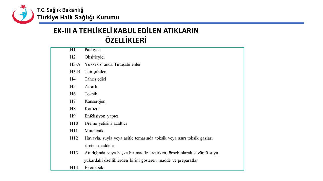 T.C. Sağlık Bakanlığı Türkiye Halk Sağlığı Kurumu T.C. Sağlık Bakanlığı Türkiye Halk Sağlığı Kurumu EK-III A TEHLİKELİ KABUL EDİLEN ATIKLARIN ÖZELLİKL
