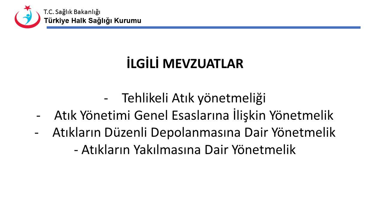 T.C. Sağlık Bakanlığı Türkiye Halk Sağlığı Kurumu T.C. Sağlık Bakanlığı Türkiye Halk Sağlığı Kurumu İLGİLİ MEVZUATLAR -Tehlikeli Atık yönetmeliği -Atı