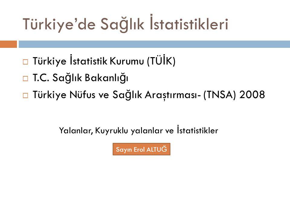 Türkiye'de Sa ğ lık İ statistikleri  Türkiye İ statistik Kurumu (TÜ İ K)  T.C. Sa ğ lık Bakanlı ğ ı  Türkiye Nüfus ve Sa ğ lık Araştırması- (TNSA)