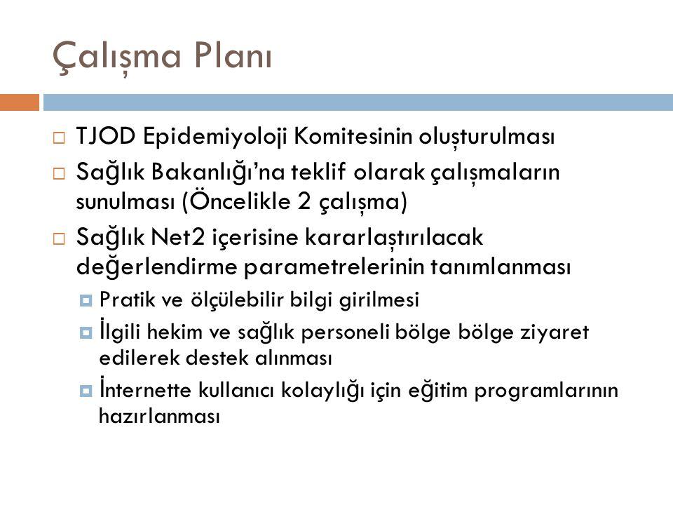 Çalışma Planı  TJOD Epidemiyoloji Komitesinin oluşturulması  Sa ğ lık Bakanlı ğ ı'na teklif olarak çalışmaların sunulması (Öncelikle 2 çalışma)  Sa