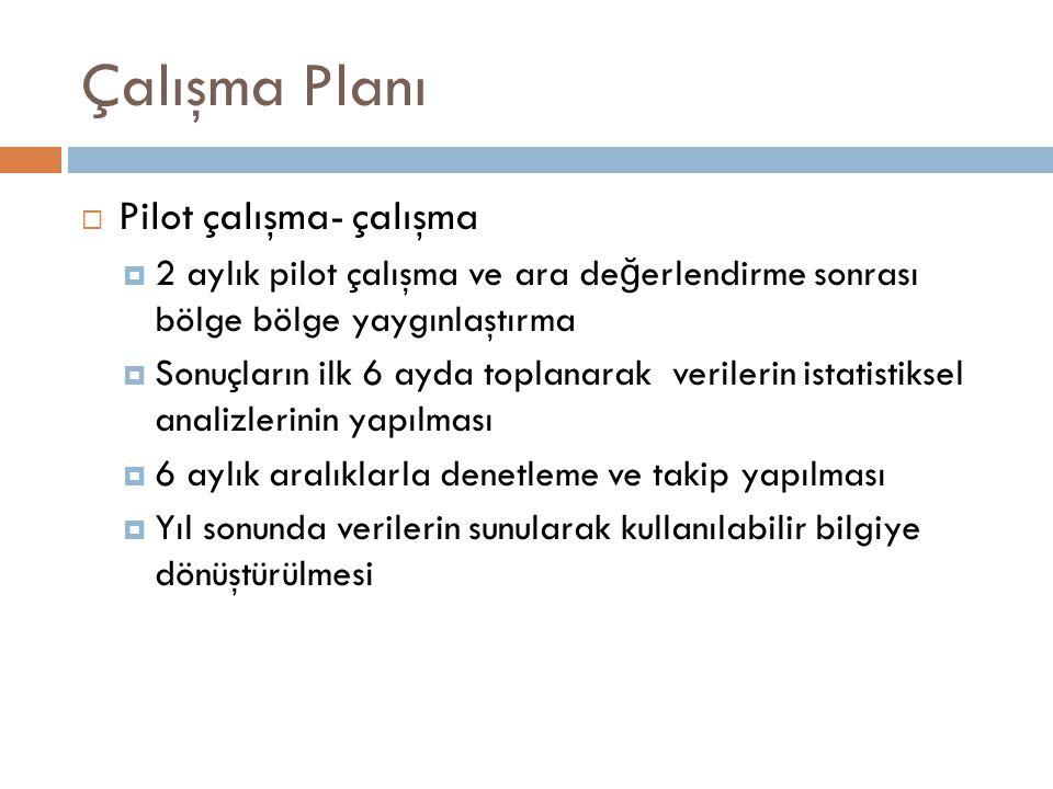 Çalışma Planı  Pilot çalışma- çalışma  2 aylık pilot çalışma ve ara de ğ erlendirme sonrası bölge bölge yaygınlaştırma  Sonuçların ilk 6 ayda topla