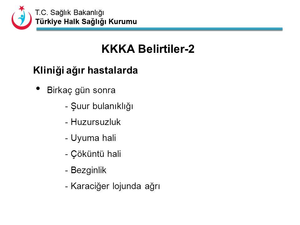 T.C. Sağlık Bakanlığı Türkiye Halk Sağlığı Kurumu T.C. Sağlık Bakanlığı Türkiye Halk Sağlığı Kurumu Birkaç gün sonra - Şuur bulanıklığı - Huzursuzluk