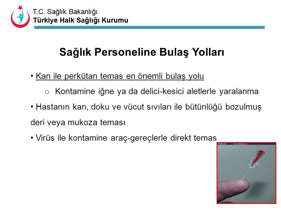 T.C. Sağlık Bakanlığı Türkiye Halk Sağlığı Kurumu T.C. Sağlık Bakanlığı Türkiye Halk Sağlığı Kurumu Kan ile perkütan temas en önemli bulaş yolu o Kont