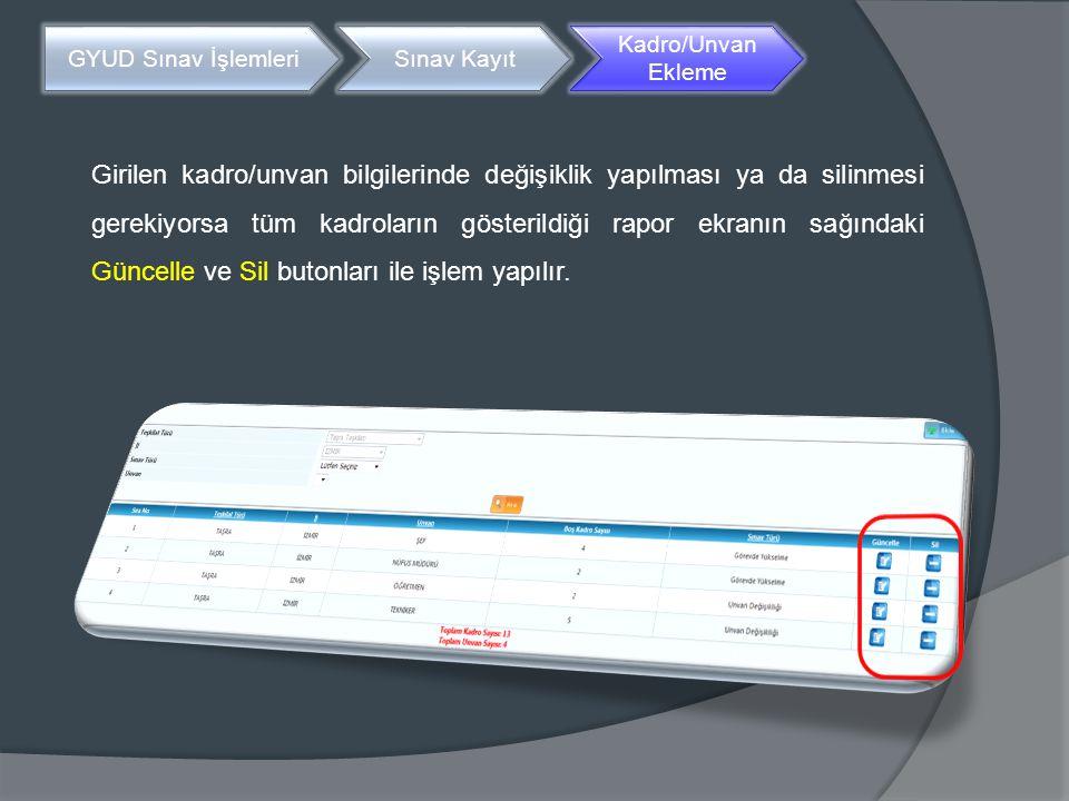 Girilen kadro/unvan bilgilerinde değişiklik yapılması ya da silinmesi gerekiyorsa tüm kadroların gösterildiği rapor ekranın sağındaki Güncelle ve Sil