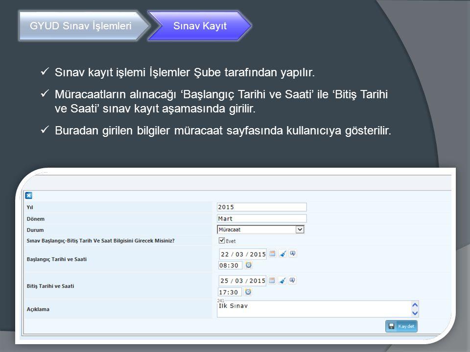 GYUD Sınav İşlemleriBaşvuru Kişisel Başvuru Sınav Başvuru ekranında öncelikle kişiye ait kimlik bilgileri gösterilir.