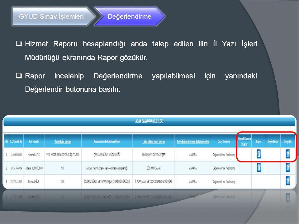 GYUD Sınav İşlemleri Değerlendirme  Hizmet Raporu hesaplandığı anda talep edilen ilin İl Yazı İşleri Müdürlüğü ekranında Rapor gözükür.  Rapor incel