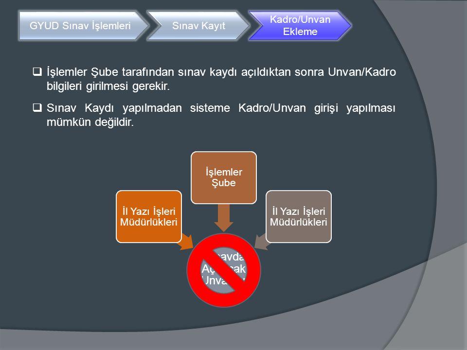  İşlemler Şube tarafından sınav kaydı açıldıktan sonra Unvan/Kadro bilgileri girilmesi gerekir.  Sınav Kaydı yapılmadan sisteme Kadro/Unvan girişi y