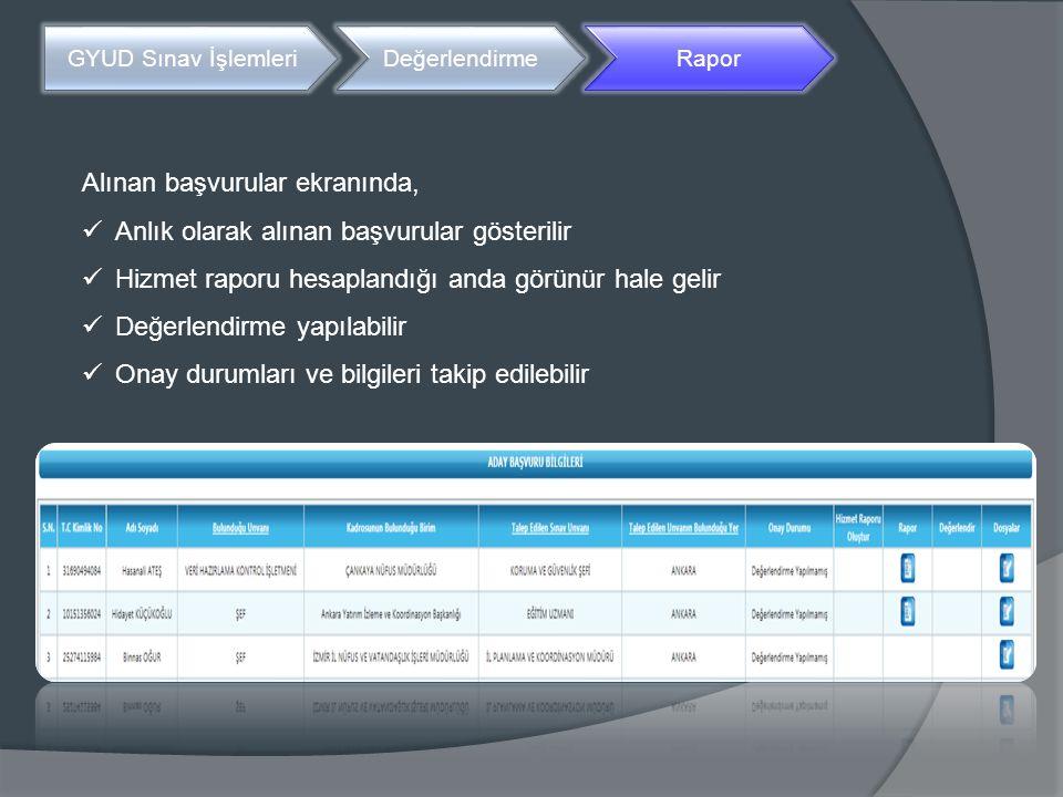 GYUD Sınav İşlemleri DeğerlendirmeRapor Alınan başvurular ekranında, Anlık olarak alınan başvurular gösterilir Hizmet raporu hesaplandığı anda görünür