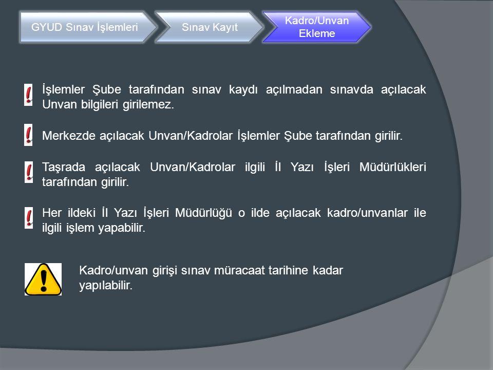 Kadro/Unvan eklemek için Birim Sorumluları Standart Ana Sayfada yer alan «GYUD Sınav İşlemleri» menüsünde 'Kadro/Unvan Kayıt' başlığı seçilir.
