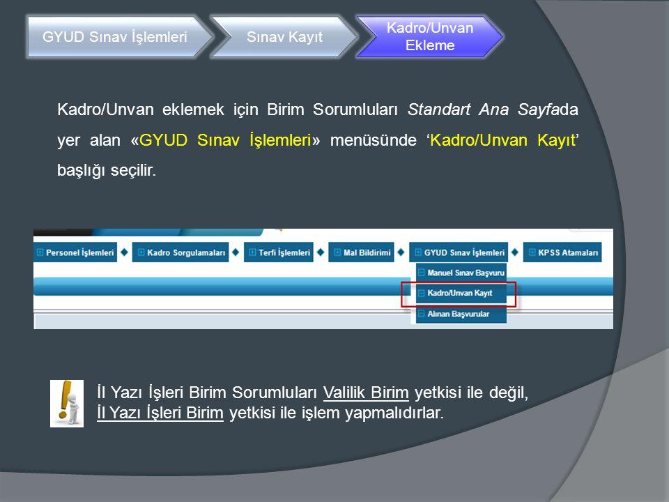 Kadro/Unvan eklemek için Birim Sorumluları Standart Ana Sayfada yer alan «GYUD Sınav İşlemleri» menüsünde 'Kadro/Unvan Kayıt' başlığı seçilir. GYUD Sı