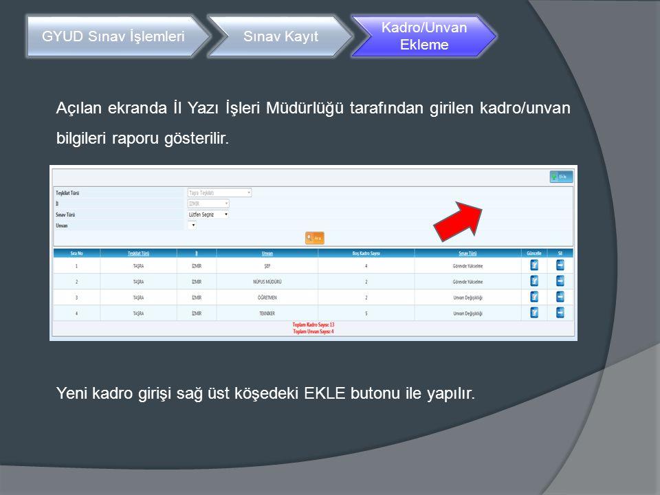 Açılan ekranda İl Yazı İşleri Müdürlüğü tarafından girilen kadro/unvan bilgileri raporu gösterilir. GYUD Sınav İşlemleriSınav Kayıt Kadro/Unvan Ekleme