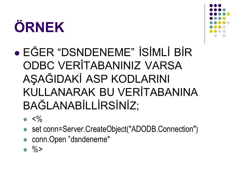ÖRNEK EĞER DSNDENEME İSİMLİ BİR ODBC VERİTABANINIZ VARSA AŞAĞIDAKİ ASP KODLARINI KULLANARAK BU VERİTABANINA BAĞLANABİLLİRSİNİZ; <% set conn=Server.CreateObject( ADODB.Connection ) conn.Open dsndeneme %>