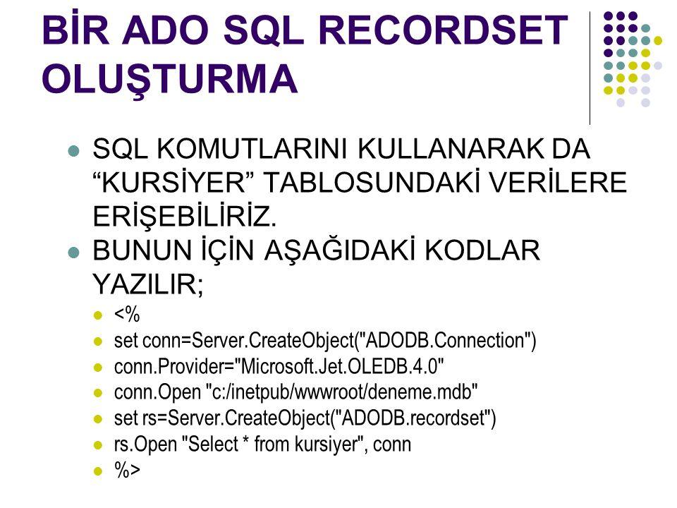 BİR ADO SQL RECORDSET OLUŞTURMA SQL KOMUTLARINI KULLANARAK DA KURSİYER TABLOSUNDAKİ VERİLERE ERİŞEBİLİRİZ.